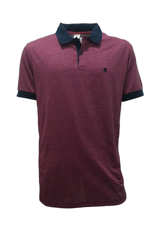 POLO MC CASUAL SLIM ALGODAO FIO TINTO JACQUARD BORDO