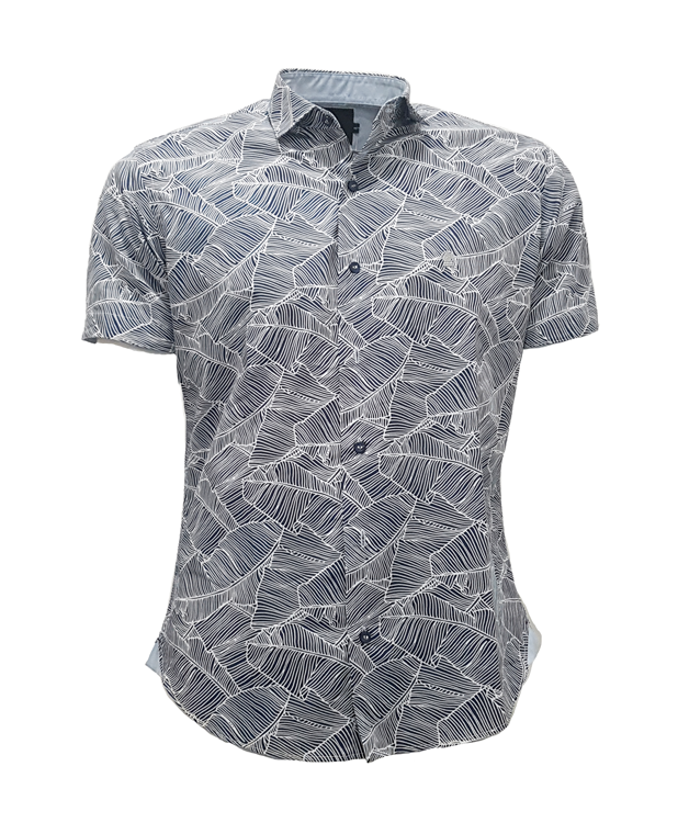 CAMISA MC BLUES SLIM ALGODAO COMPOSE ESTAMPA AZUL MARINHO