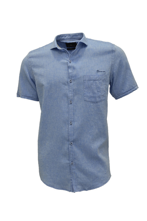 CAMISA MC BLUES SLIM ALGODAO E LINHO TRENDY LISO AZUL MEDIO