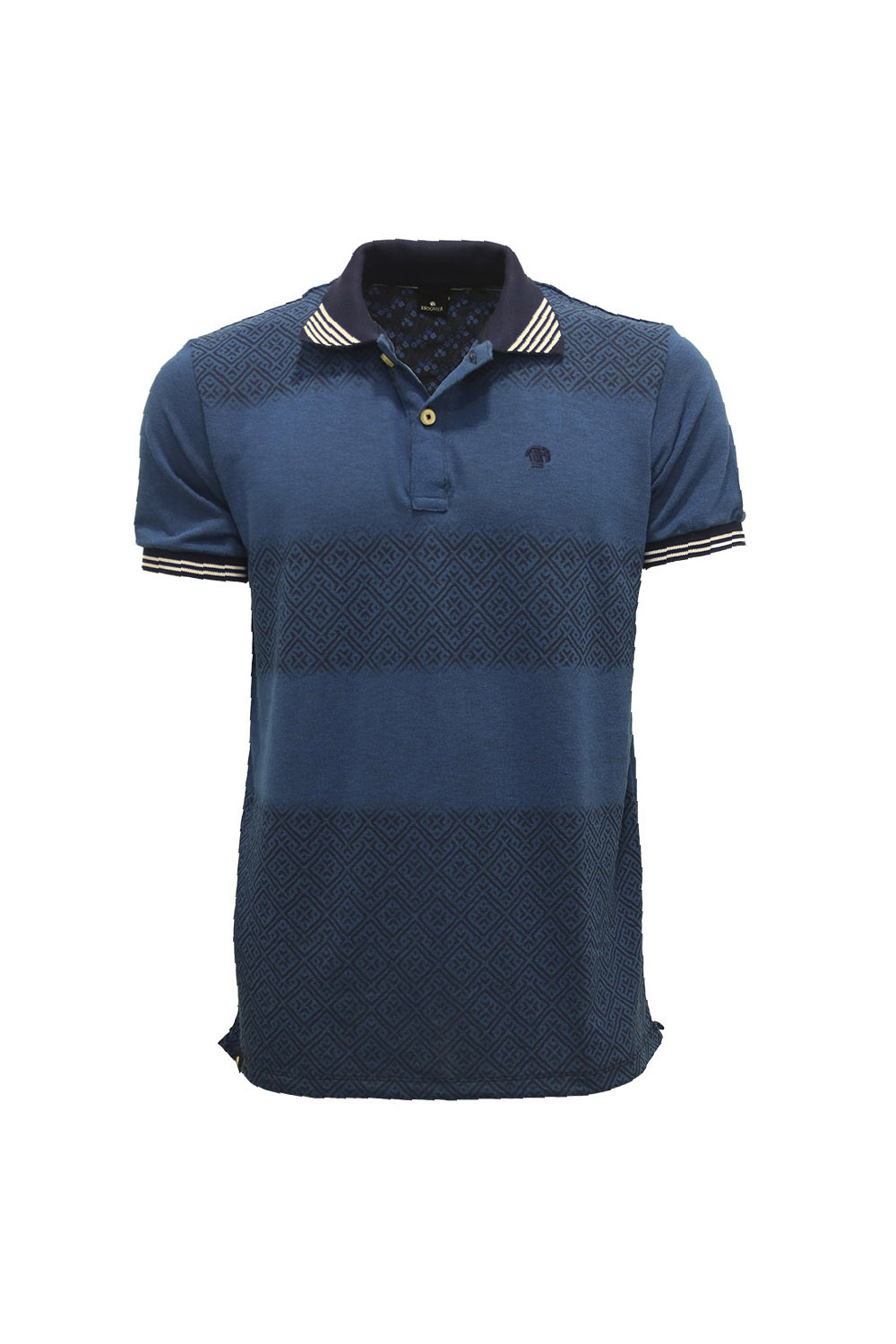 POLO MC CASUAL SLIM POLIALGODAO COMPOSE ESTAMPA AZUL MARINHO