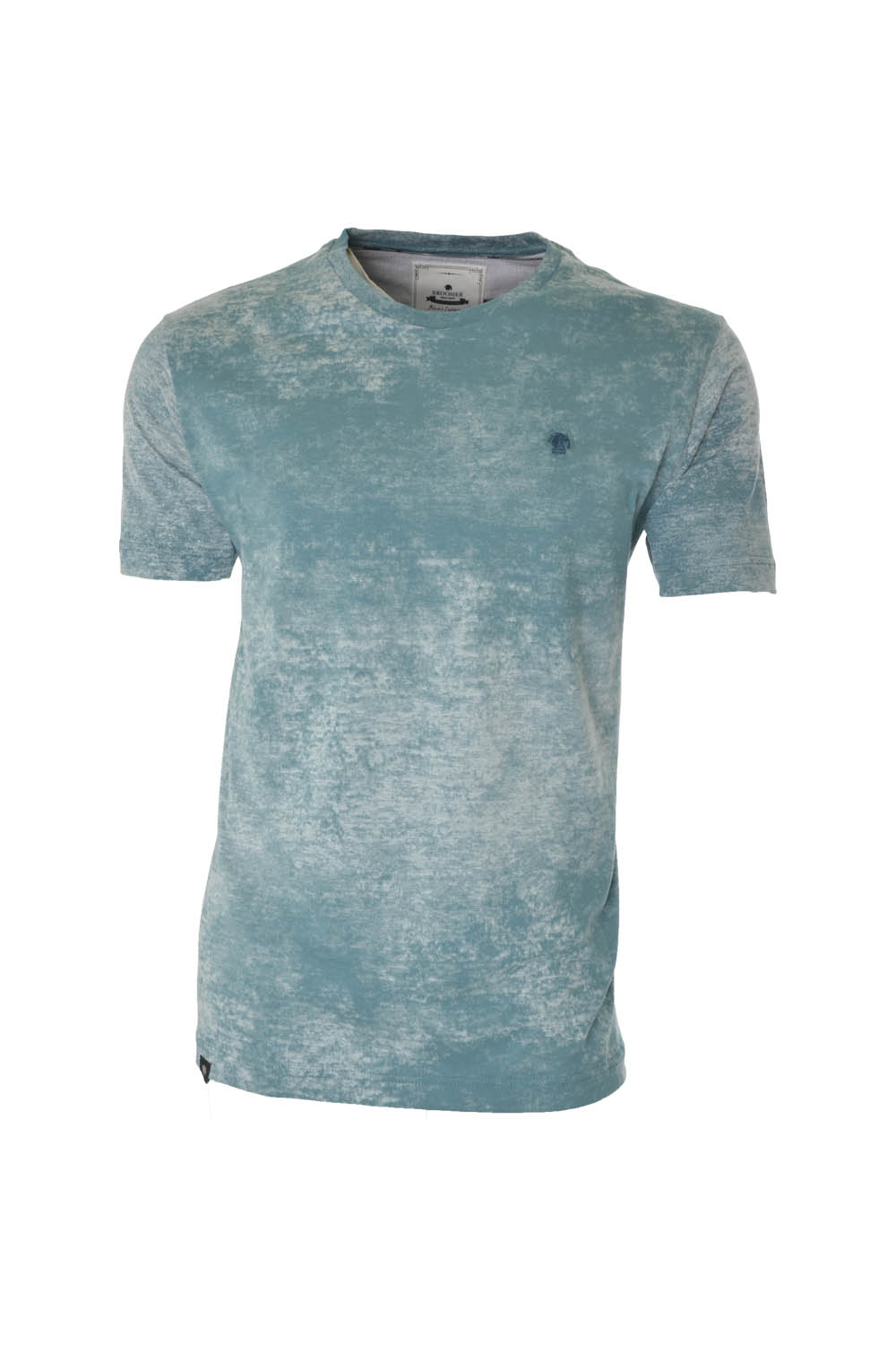 CAMISETA MC BLUES SUPER SLIM ALGODAO GOLA C TEXTURIZADO VERDE CLARO