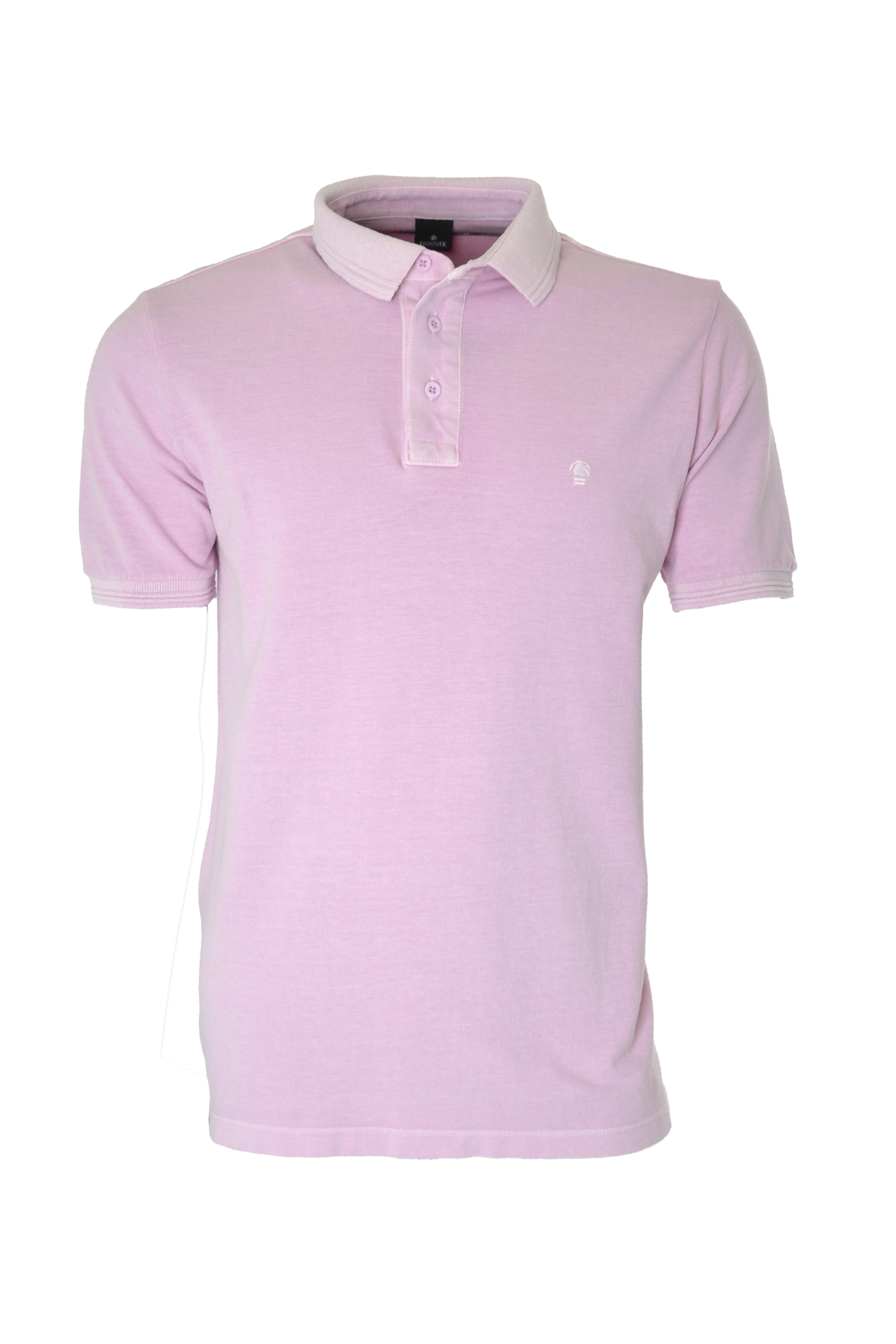 POLO MC CASUAL SLIM ALGODAO PIQUET LISO ROSA CLARO