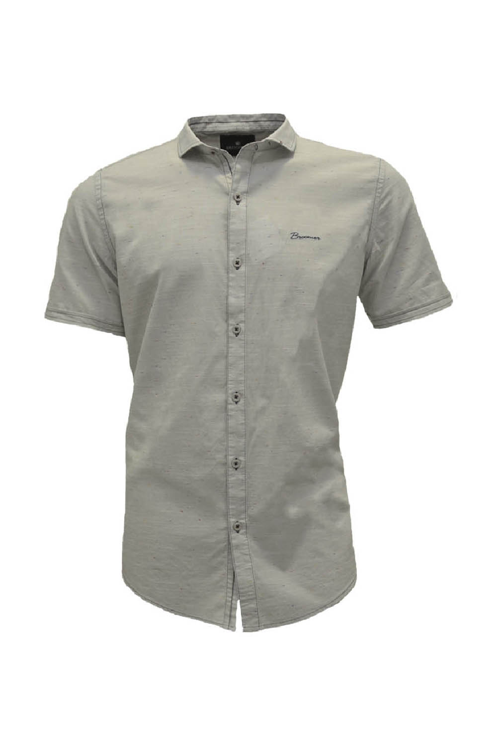 CAMISA MC BLUES SLIM ALGODAO TRENDY LISO CINZA CLARO