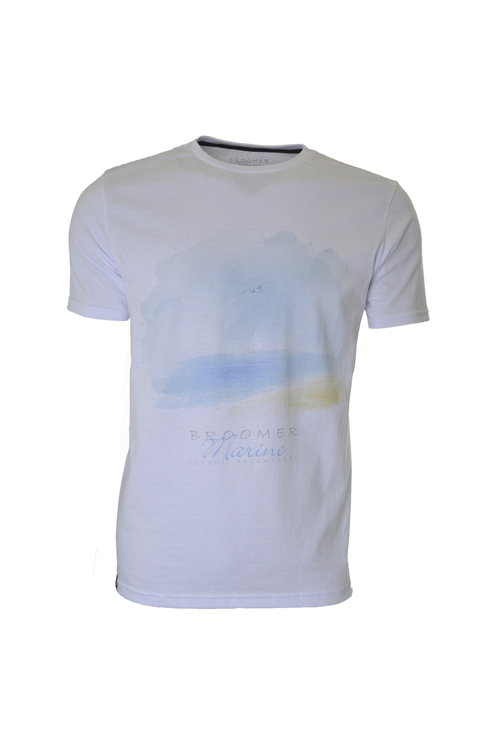 CAMISETA MC MARINE SUPER SLIM ALGODAO GOLA CARECA ESTAMPA BRANCO