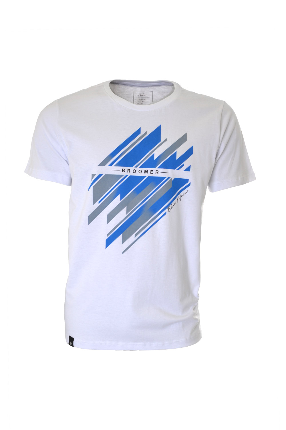 CAMISETA MC BLUES SLIM ALGODAO GOLA C ESTAMPA BRANCO