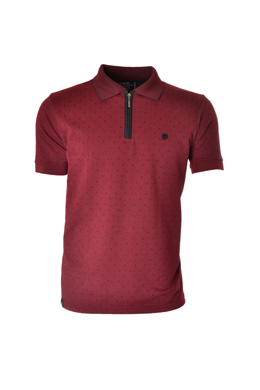 POLO MC CASUAL SLIM POLIALGODAO FIO TINTO JACQUARD BORDO
