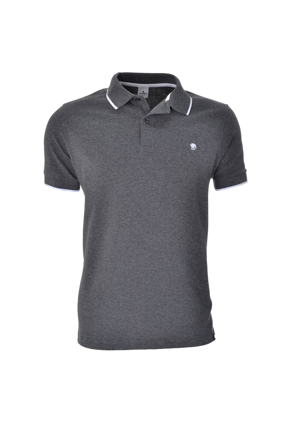 POLO MC CASUAL SLIM ALGODAO & ELASTANO STRETCH PIQUET CINZA ESCURO