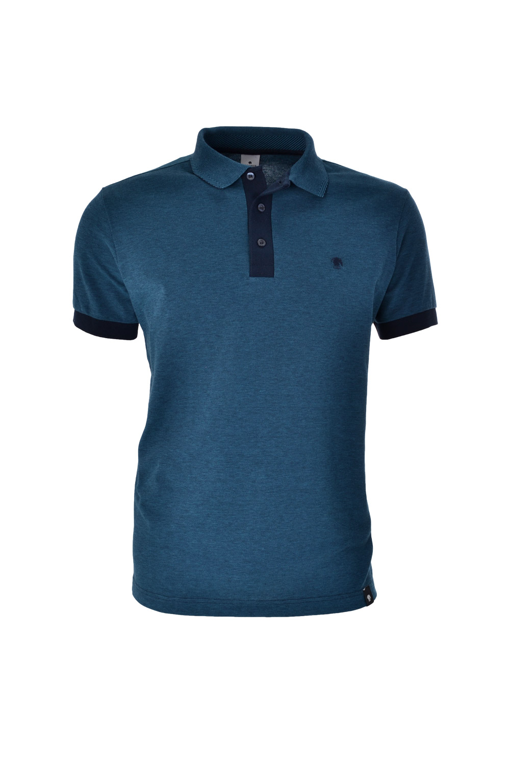 POLO MC CASUAL SLIM ALGODAO & ELASTANO STRETCH PIQUET AZUL ESCURO