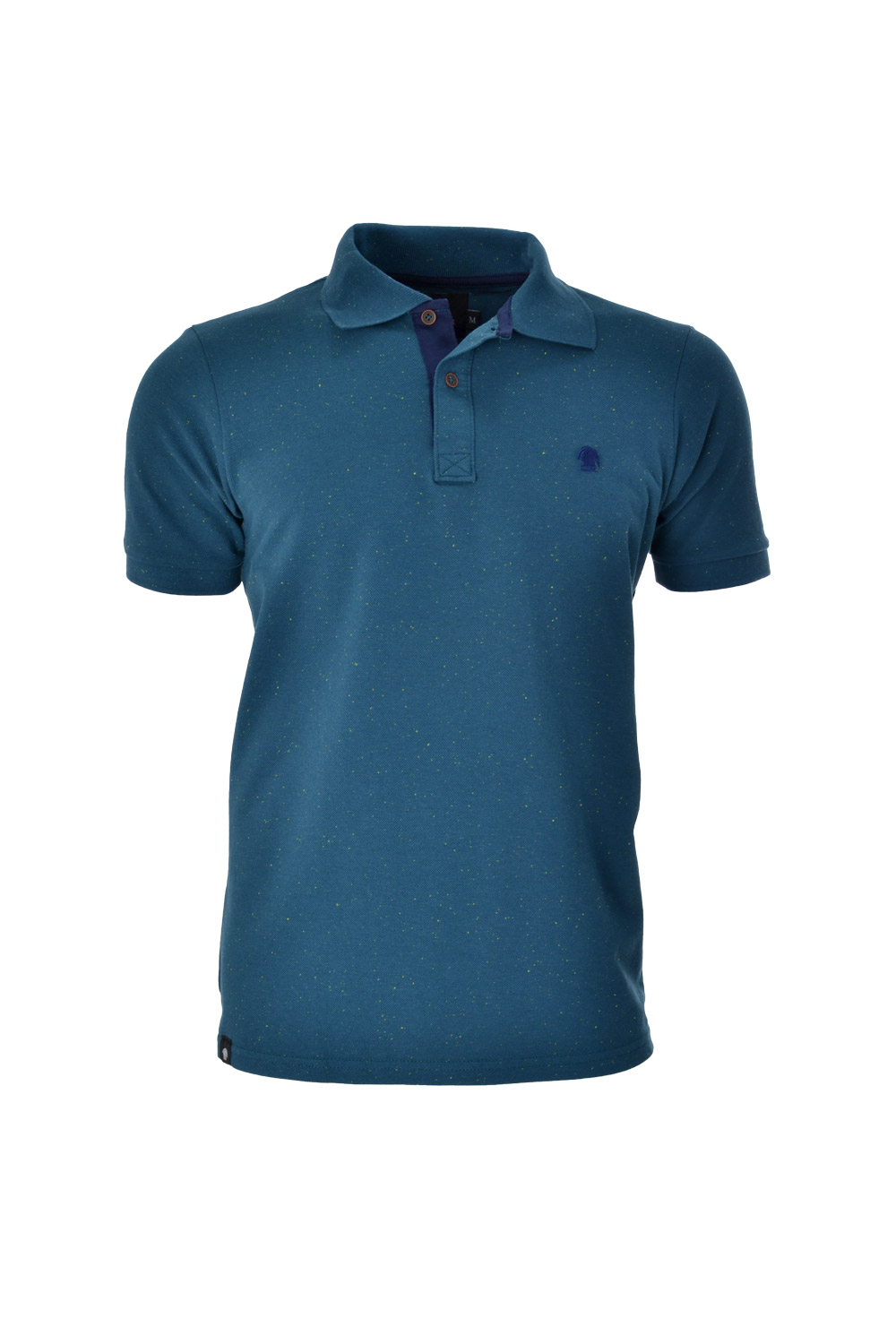 POLO MC BLUES ALGODAO FIO TINTO LISO KNOT