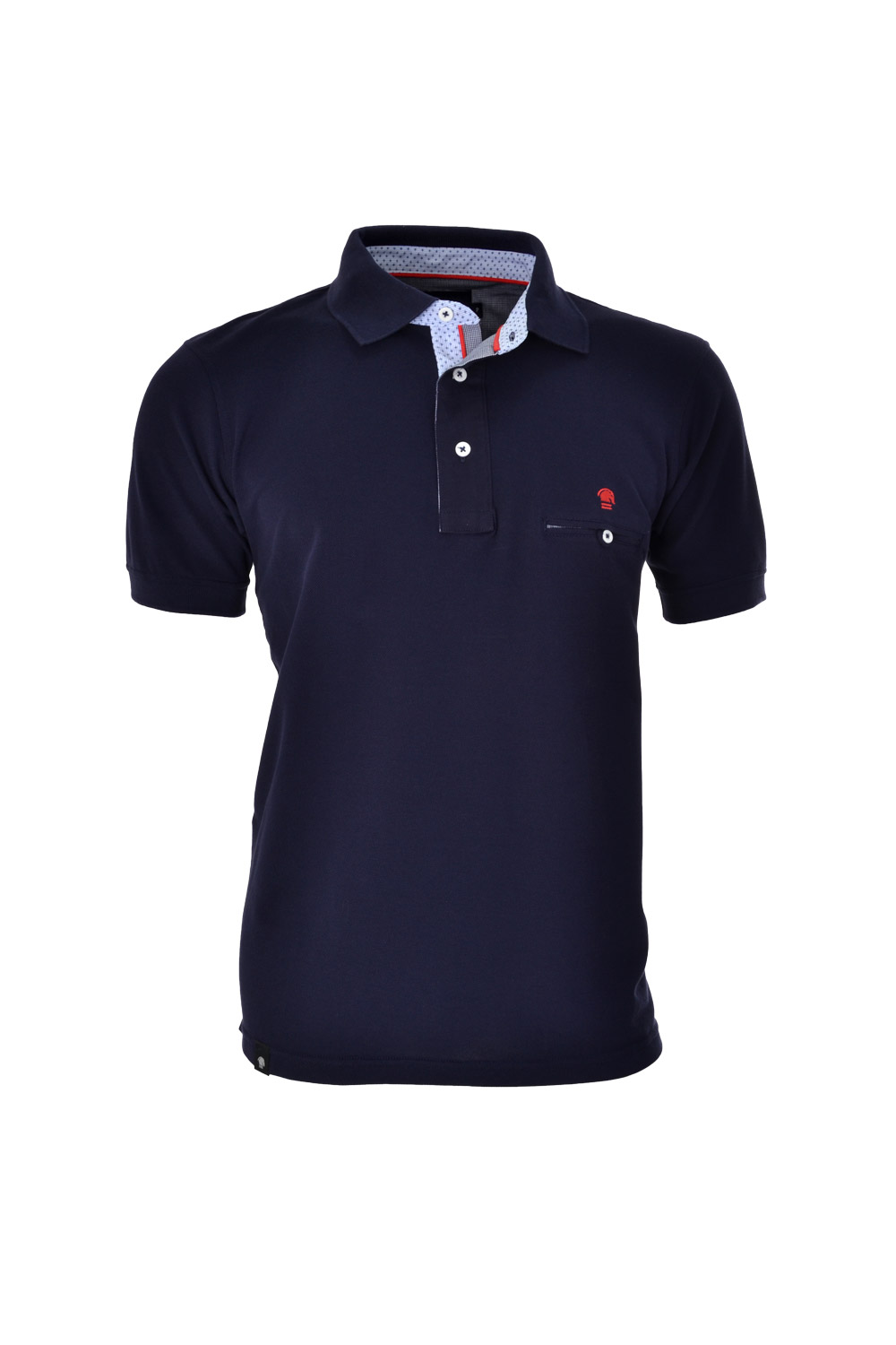 POLO MC BLUES SLIM ALGODAO & ELASTANO PIQUET LISO AZUL MARINHO