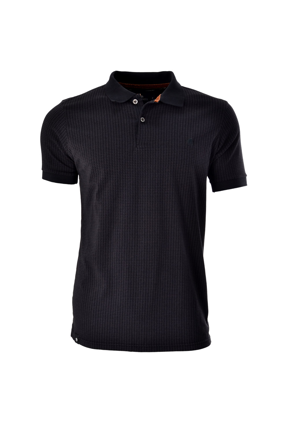 POLO MC BLUES SLIM ALGODAO FIO TINTO ESTAMPA PRETO