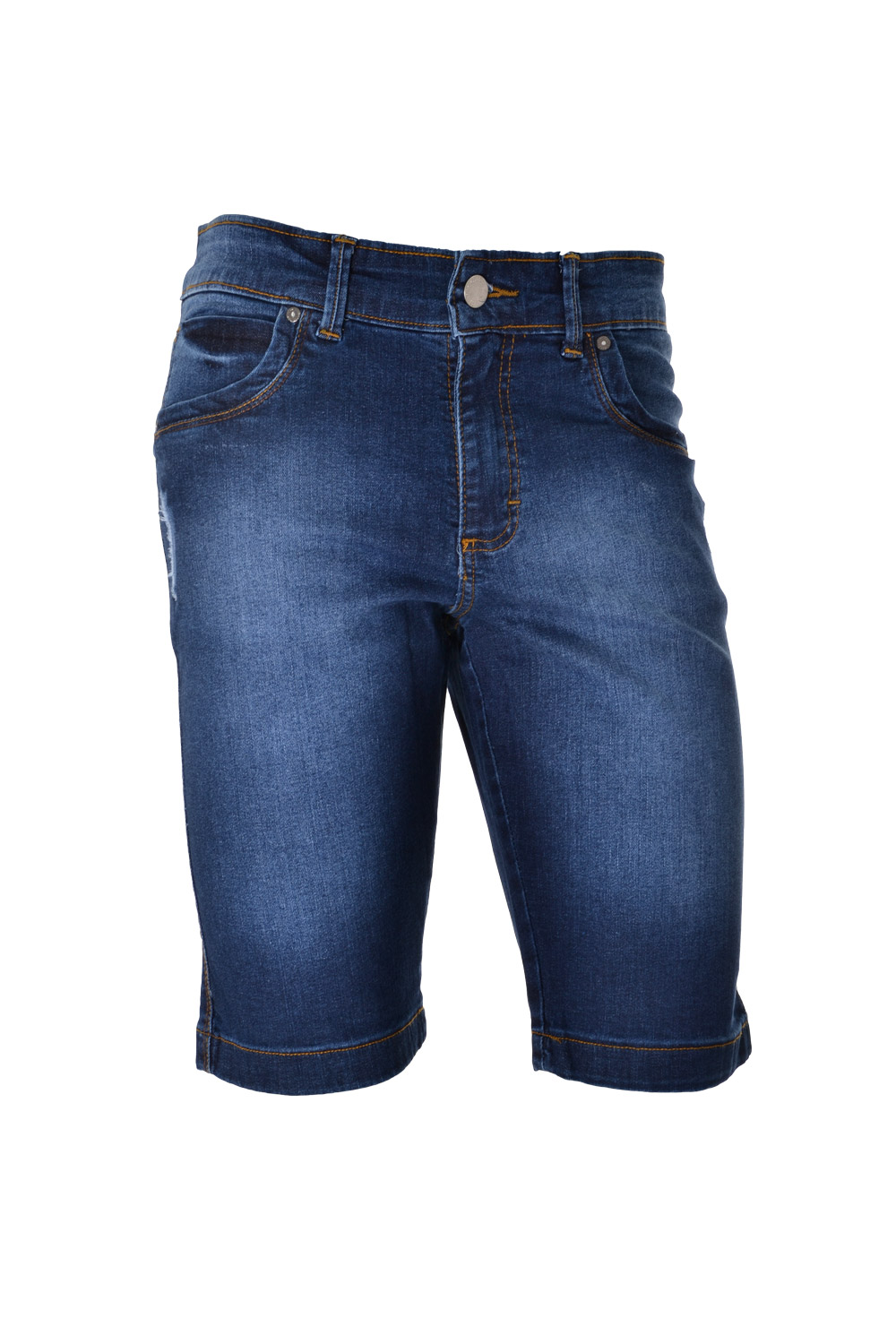 BERMUDA BLUES SLIM ALGODAO E ELASTANO STRETCH STONED AZUL ESCURO