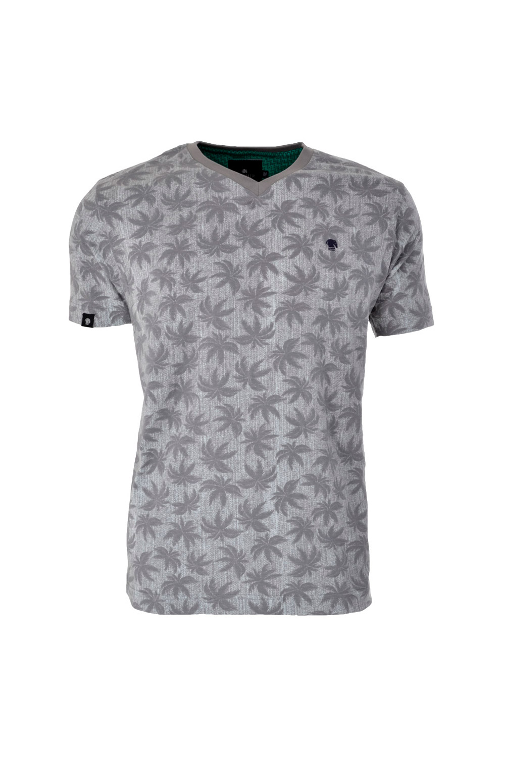 CAMISETA MC BLUES SUPER SLIM ALGODAO GOLA V ESTAMPA CINZA CLARO