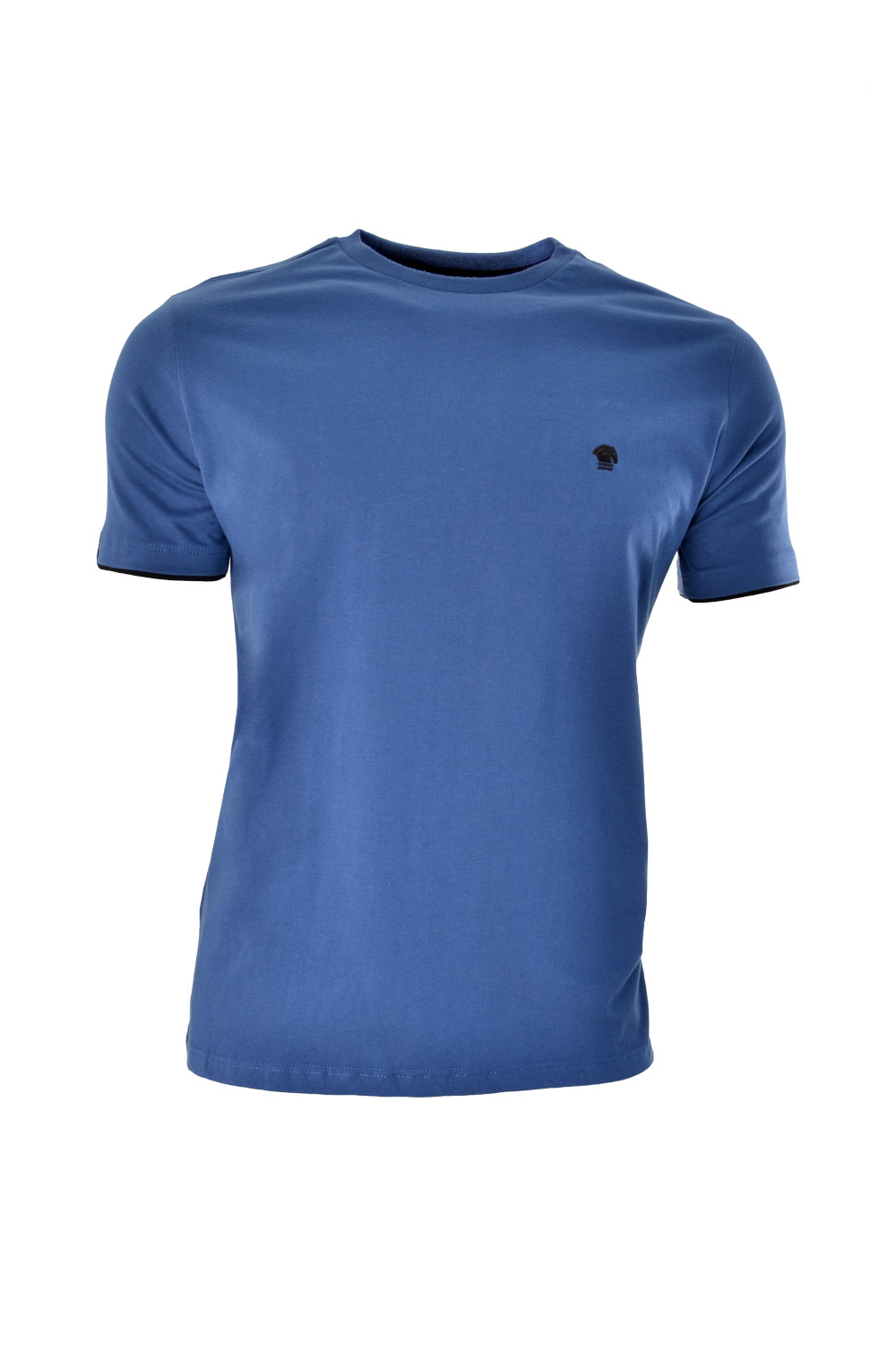 CAMISETA MC BLUES SUPER SLIM ALGODAO GOLA C LISO AZUL MEDIO