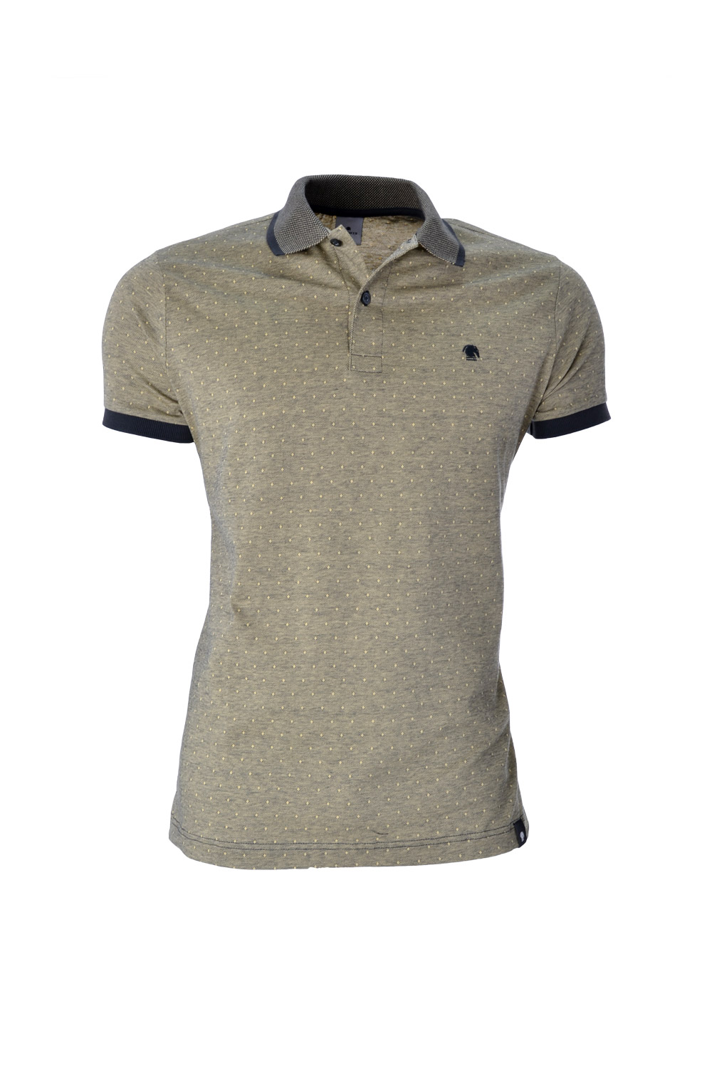 POLO MC CASUAL SLIM ALGODAO & ELASTANO STRETCH PIQUET BINADO AMARELO CLARO