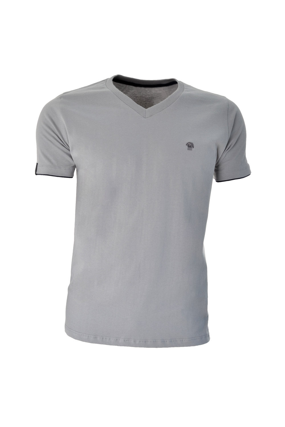 CAMISETA MC BLUES SUPER SLIM ALGODAO GOLA V LISO CINZA CLARO