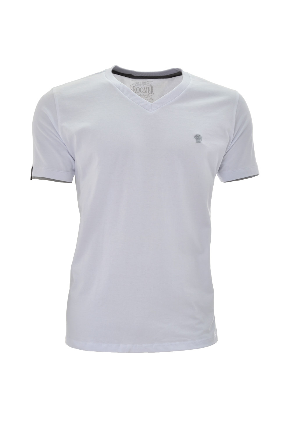 CAMISETA MC BLUES SUPER SLIM ALGODAO GOLA V LISO BRANCO