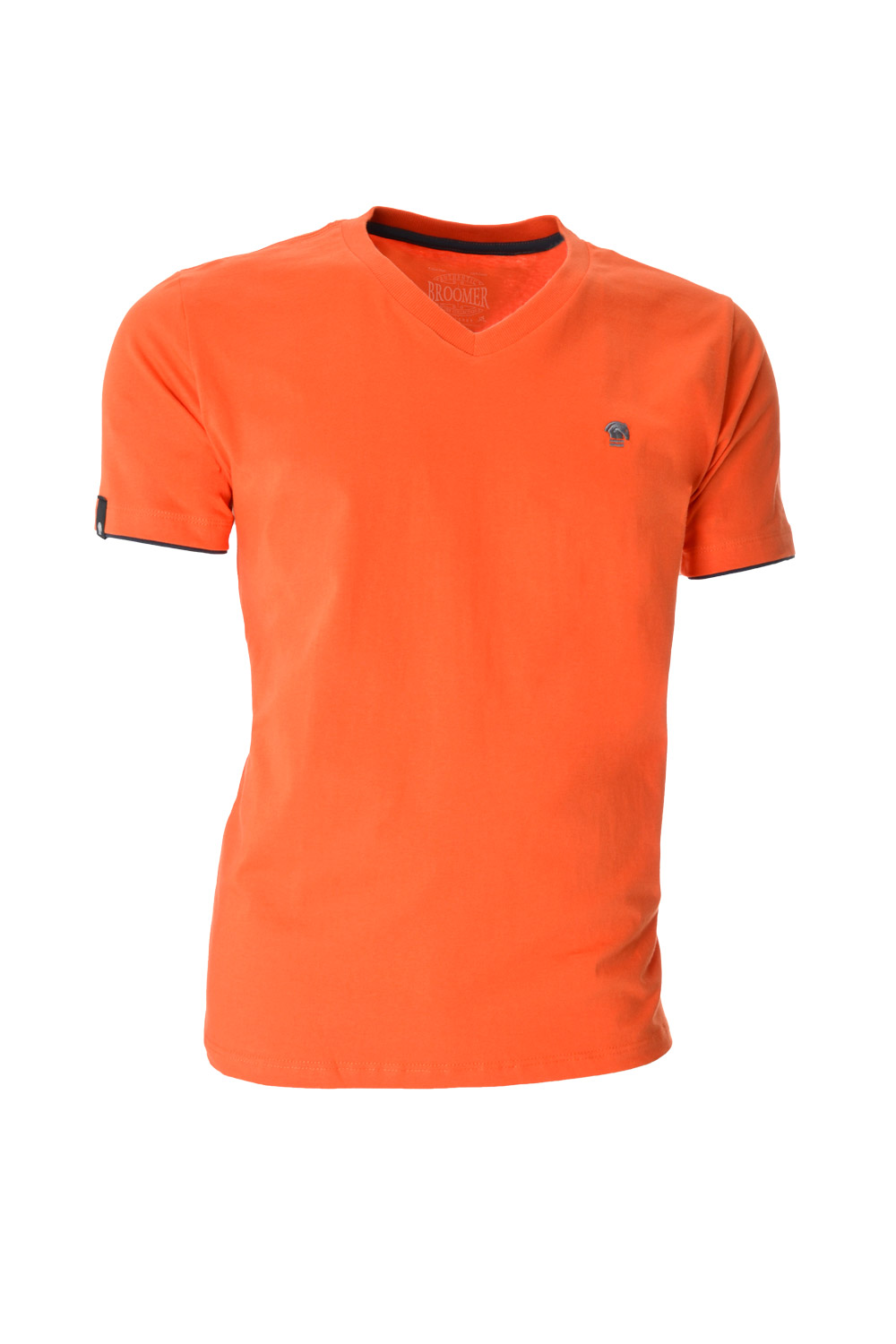 CAMISETA MC BLUES SUPER SLIM ALGODAO GOLA V LISO LARANJA MEDIO