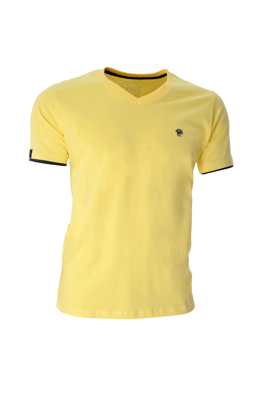 CAMISETA MC BLUES SUPER SLIM ALGODAO GOLA V LISO AMARELO CLARO