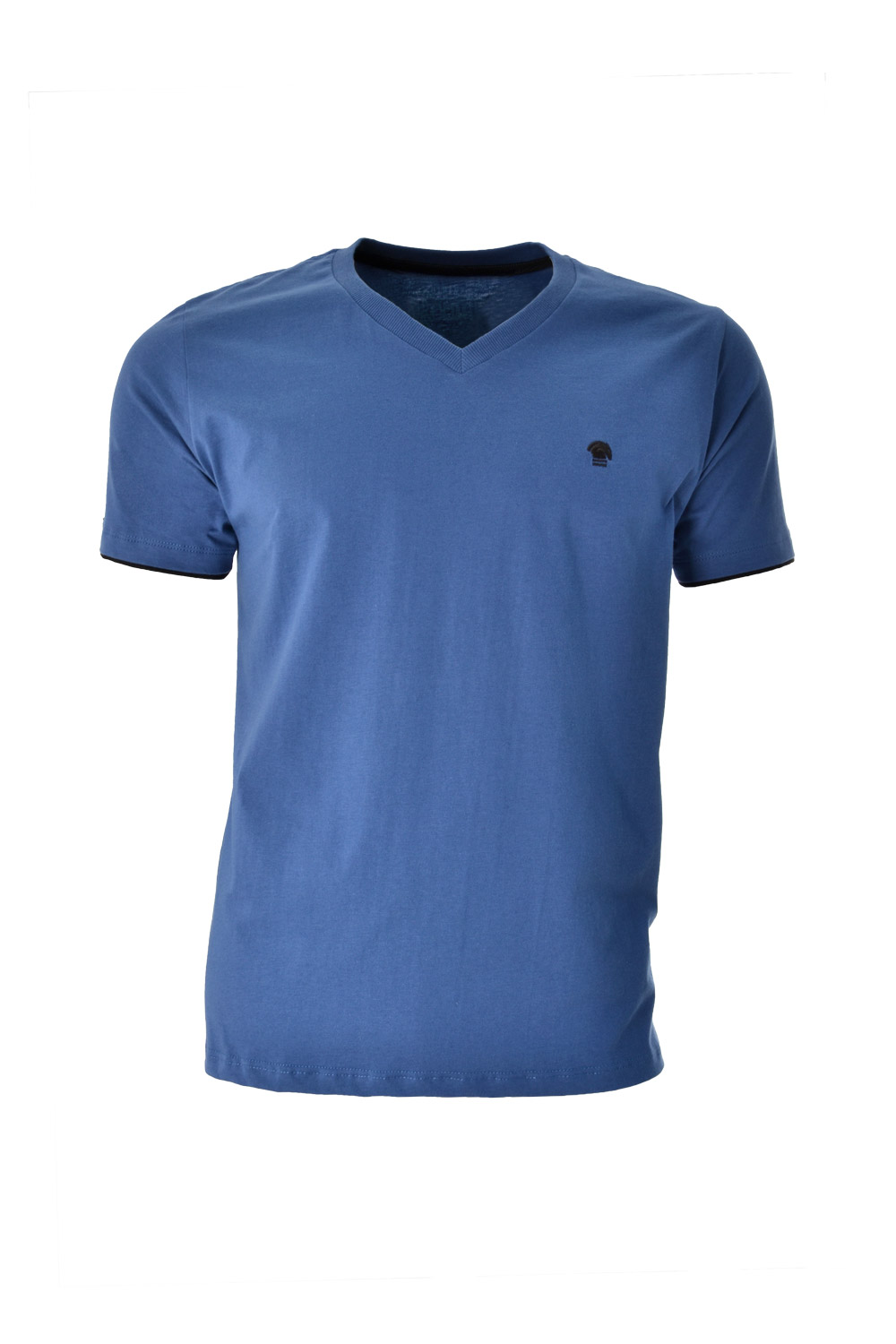 CAMISETA MC BLUES SUPER SLIM ALGODAO GOLA V LISO AZUL MEDIO