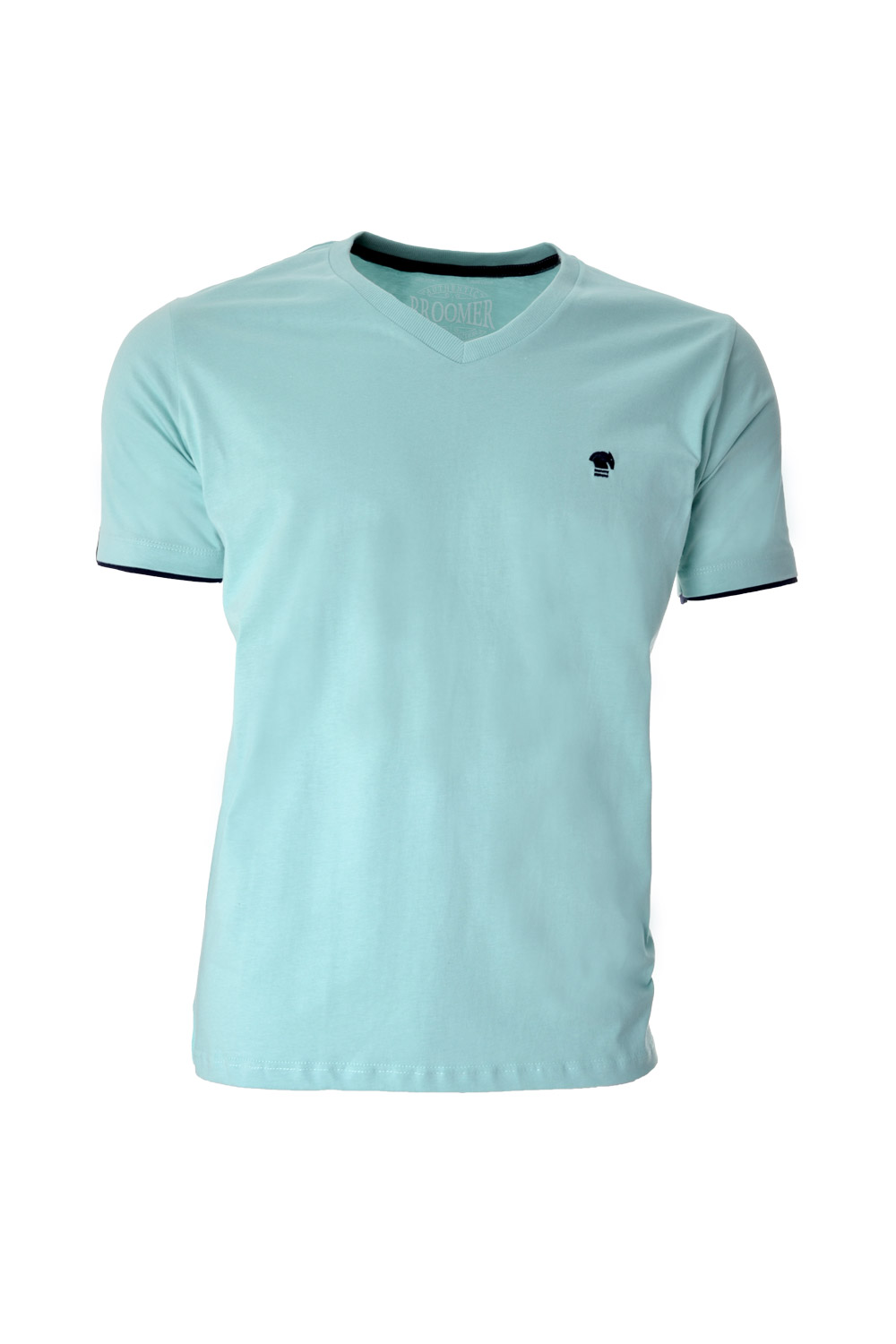 CAMISETA MC BLUES SUPER SLIM ALGODAO GOLA V LISO VERDE AGUA