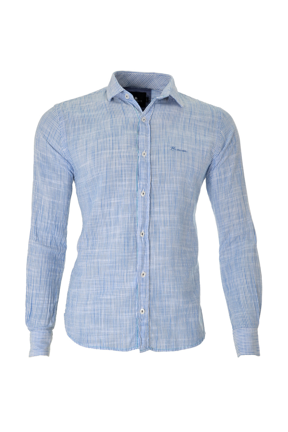 CAMISA ML BLUES ALGODAO TRENDY LISTRAS VISUAL LINHO