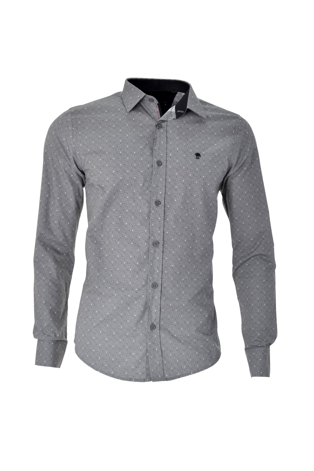 CAMISA ML FASHION SUPER SLIM ALGODAO FIO TINTO ESTAMPA PRETO