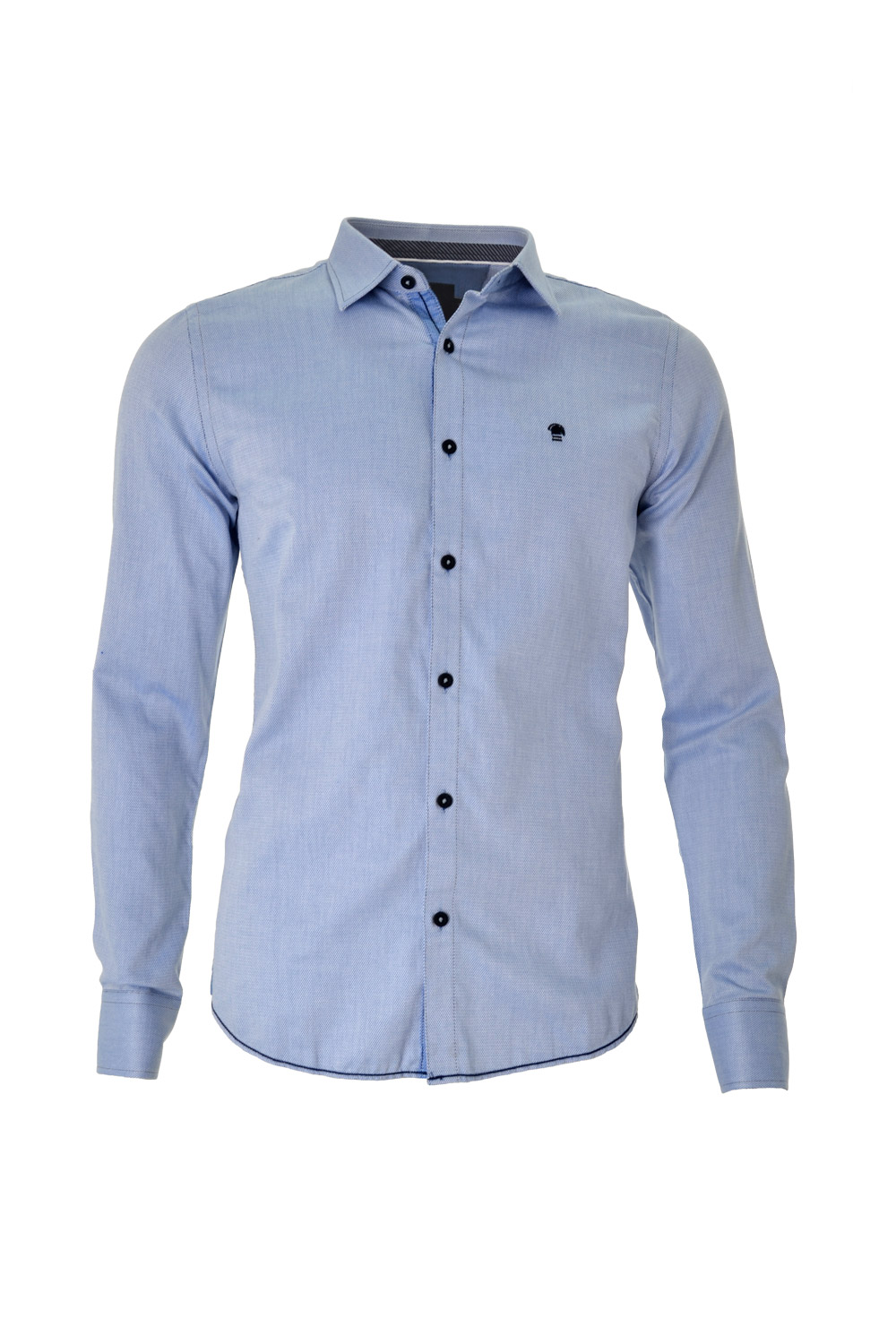CAMISA ML FASHION SUPER SLIM ALGODAO FIO TINTO JACQUARD AZUL MEDIO
