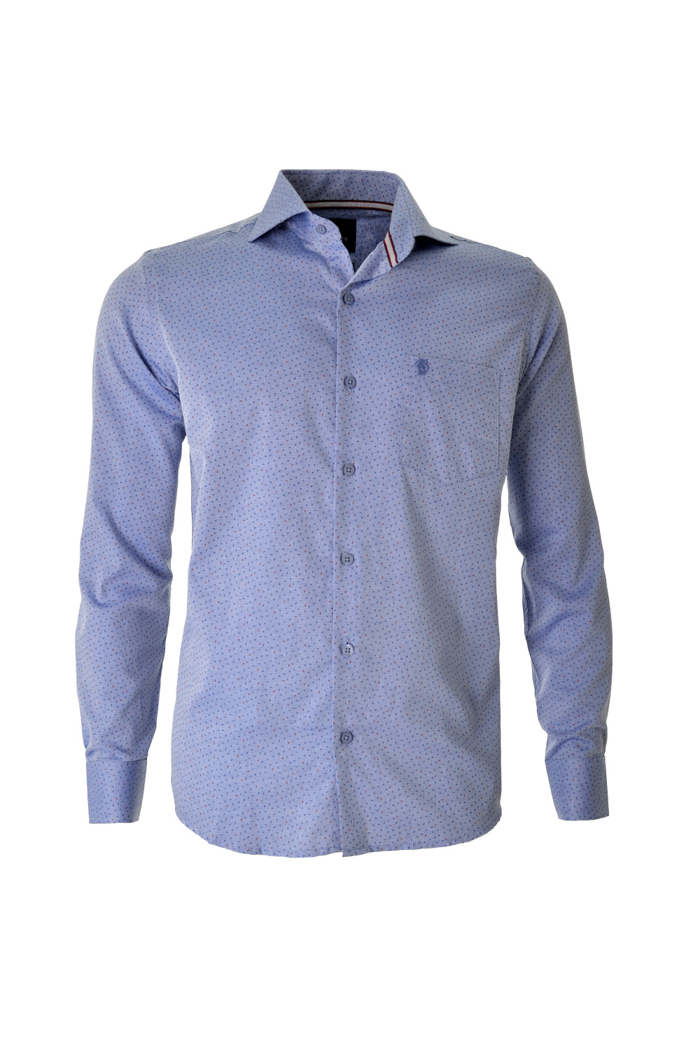 CAMISA ML FASHION SLIM ALGODAO FIO TINTO ESTAMPA AZUL CLARO
