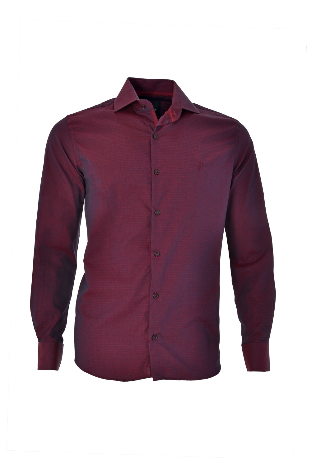 CAMISA ML FASHION SLIM ALGODAO FIO TINTO PETIT-POIS BORDO