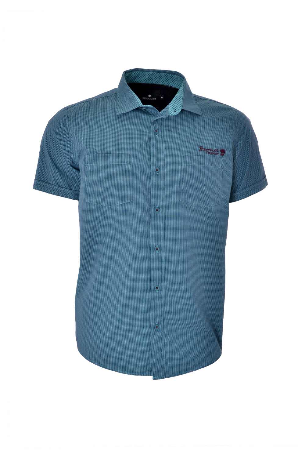 CAMISA MC BLUES SLIM ALGODAO TRENDY MICRO-XADREZ VERDE PETROLEO