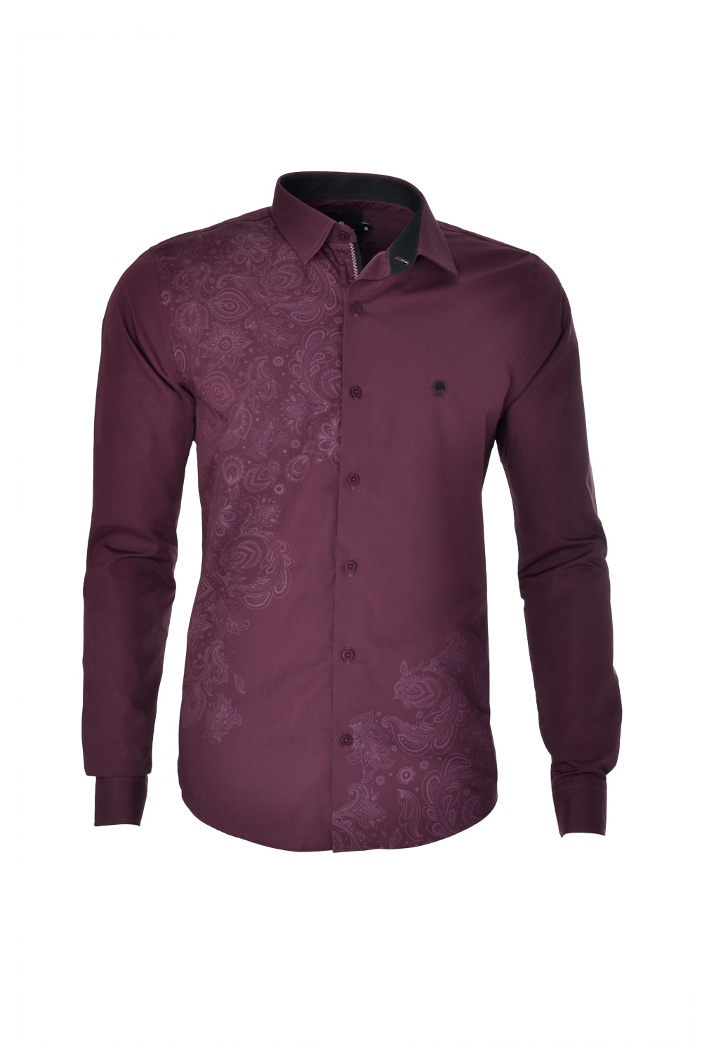CAMISA ML FASHION SUPER SLIM ALGODAO FIO TINTO ESTAMPA VINHO