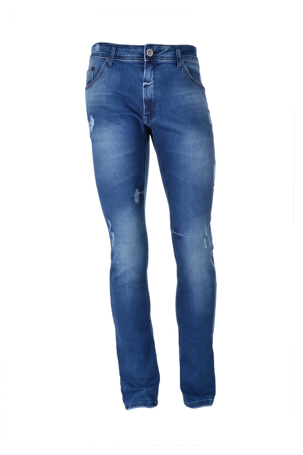 CALÇA JEANS BLUES SLIM ALGODAO & ELASTANO STRETCH STONED AZUL MEDIO