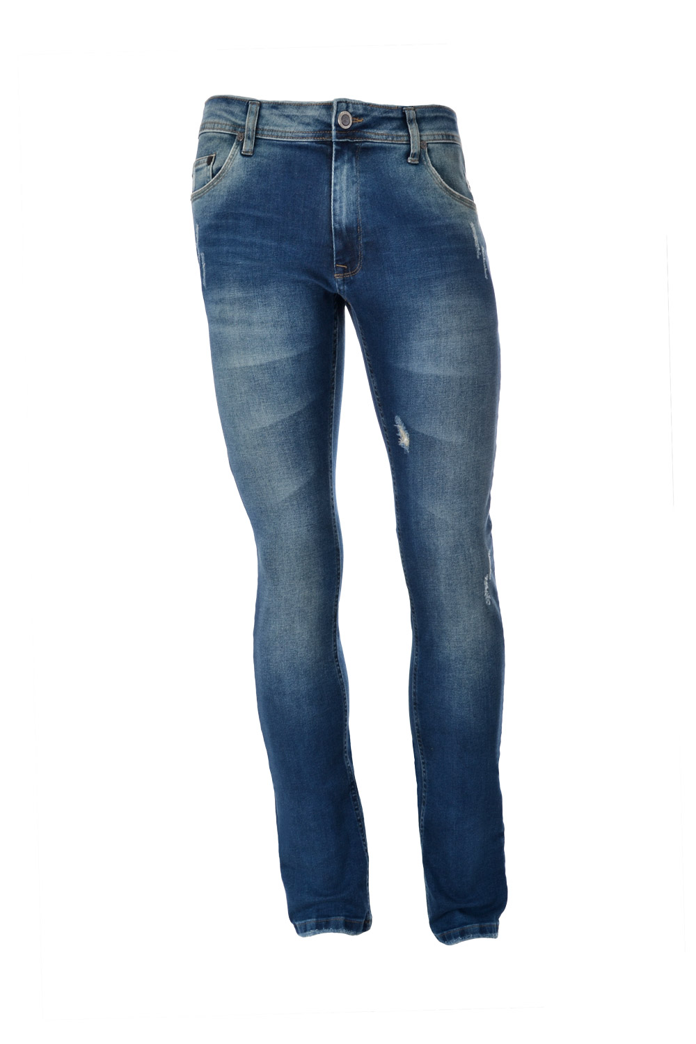 CALÇA JEANS BLUES SLIM ALGODAO & ELASTANO STRETCH STONED AZUL ESCURO