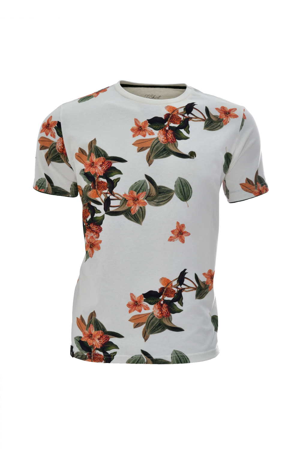 CAMISETA MC BLUES SUPER SLIM ALGODAO GOLA C FLORAL BRANCO