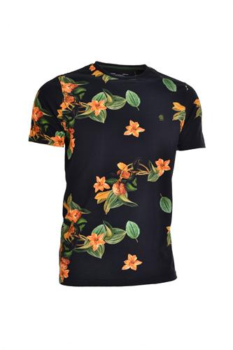 CAMISETA MC BLUES SUPER SLIM ALGODAO GOLA C FLORAL PRETO