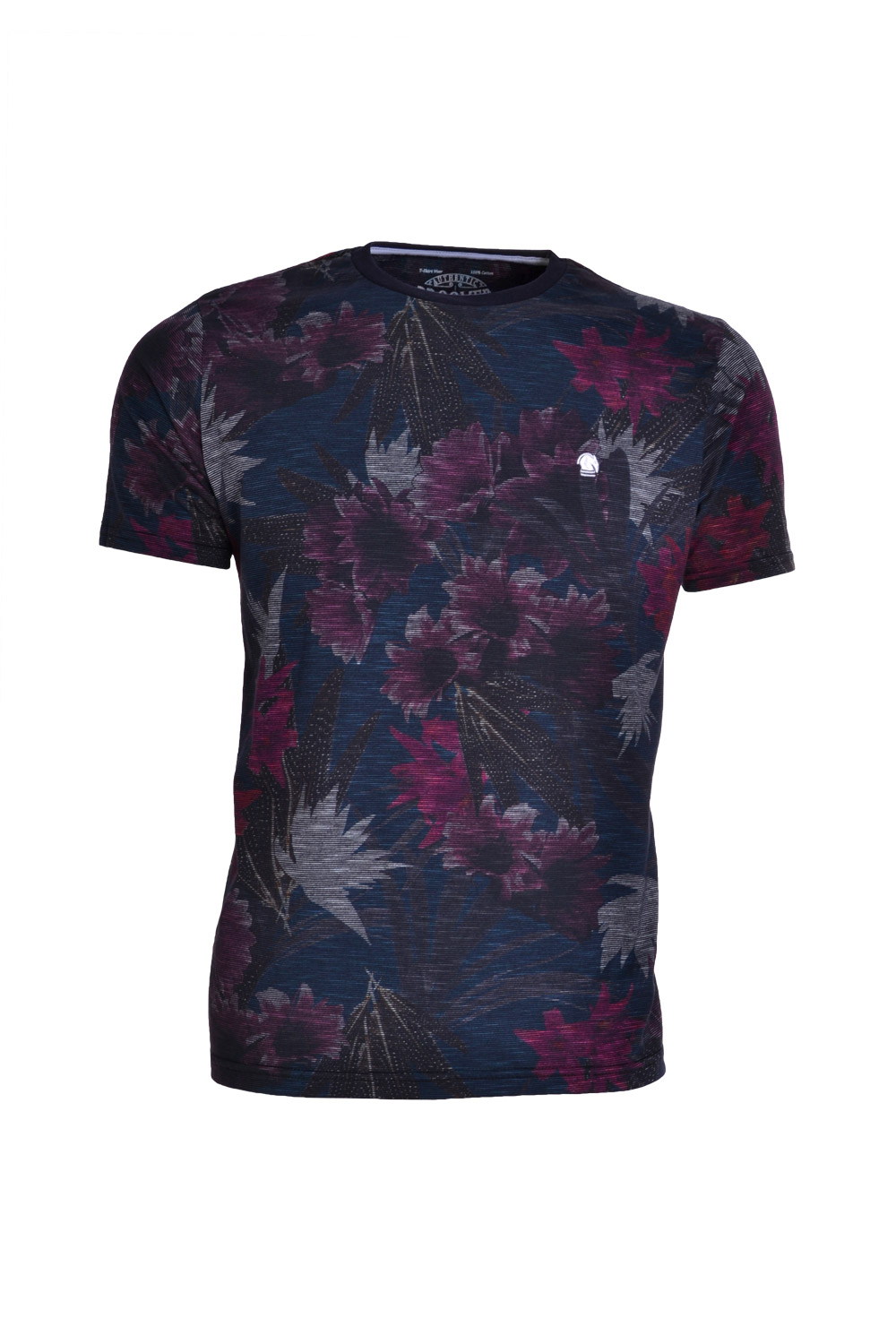 CAMISETA MC BLUES SUPER SLIM POLIALGODAO GOLA C FLORAL PRETO