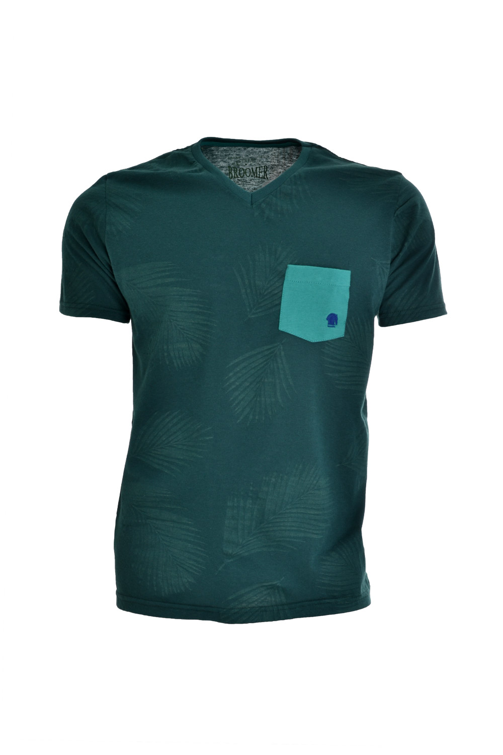 CAMISETA MC BLUES SUPER SLIM POLIALGODAO GOLA V ESTAMPA VERDE ESCURO