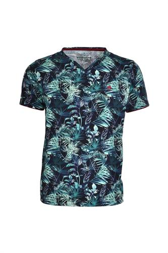CAMISETA MC BLUES SLIM ALGODAO GOLA V FLORAL VERDE MEDIO