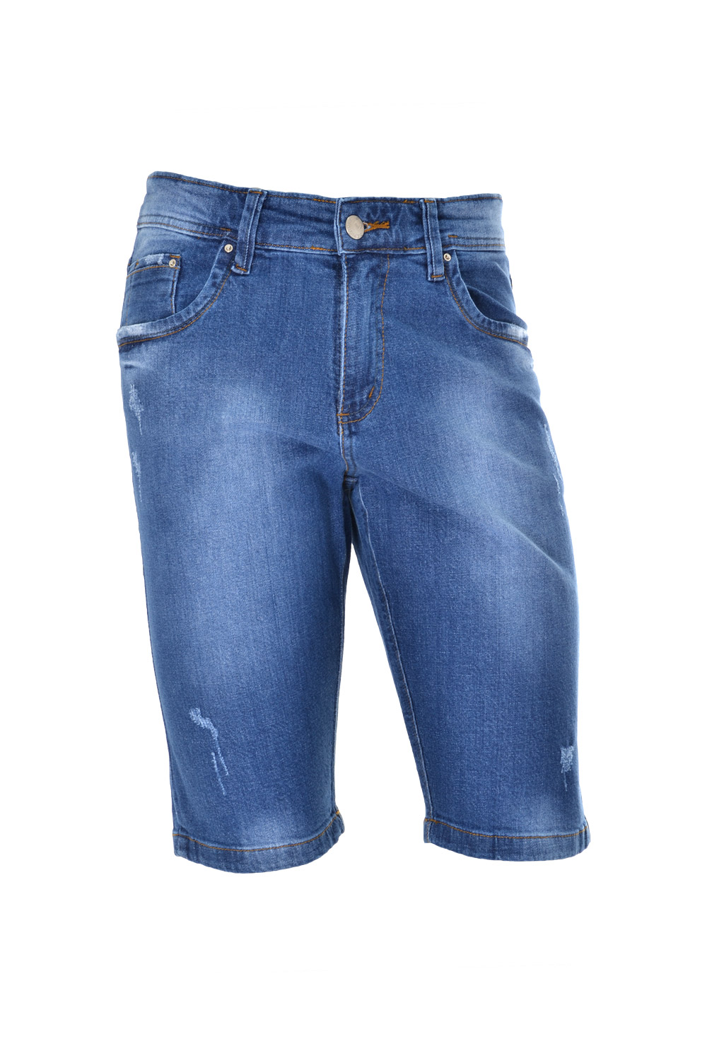 BERMUDA BLUES SLIM POLIALGODAO E ELASTANO STRETCH STONED AZUL MEDIO