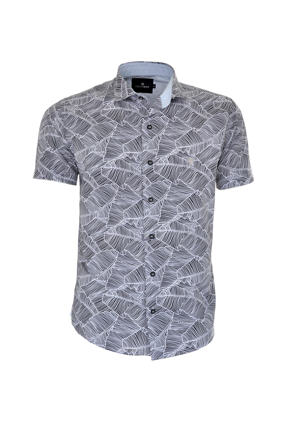 CAMISA MC BLUES SLIM ALGODAO COMPOSE ESTAMPA PRETO