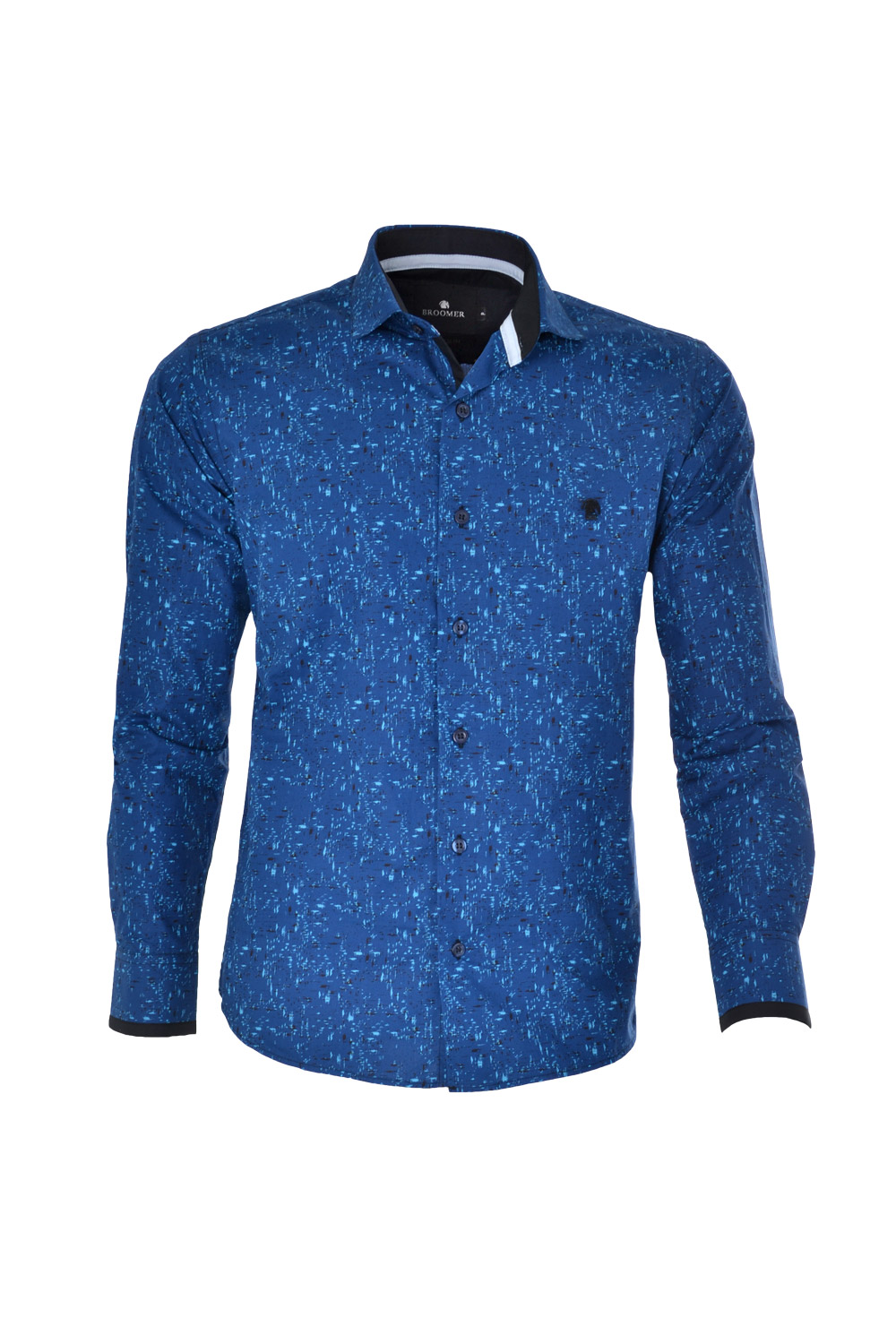 CAMISA ML FASHION SUPER SLIM ALGODAO COMPOSE ESTAMPA AZUL ESCURO
