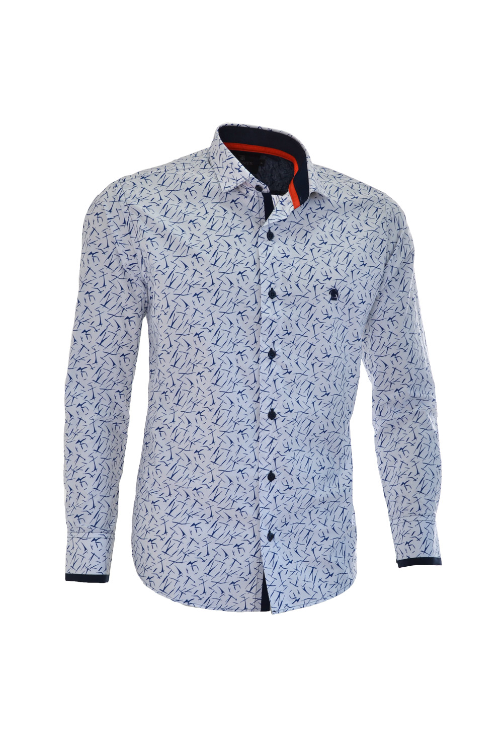 CAMISA ML FASHION SUPER SLIM ALGODAO FIO TINTO ESTAMPA BRANCO