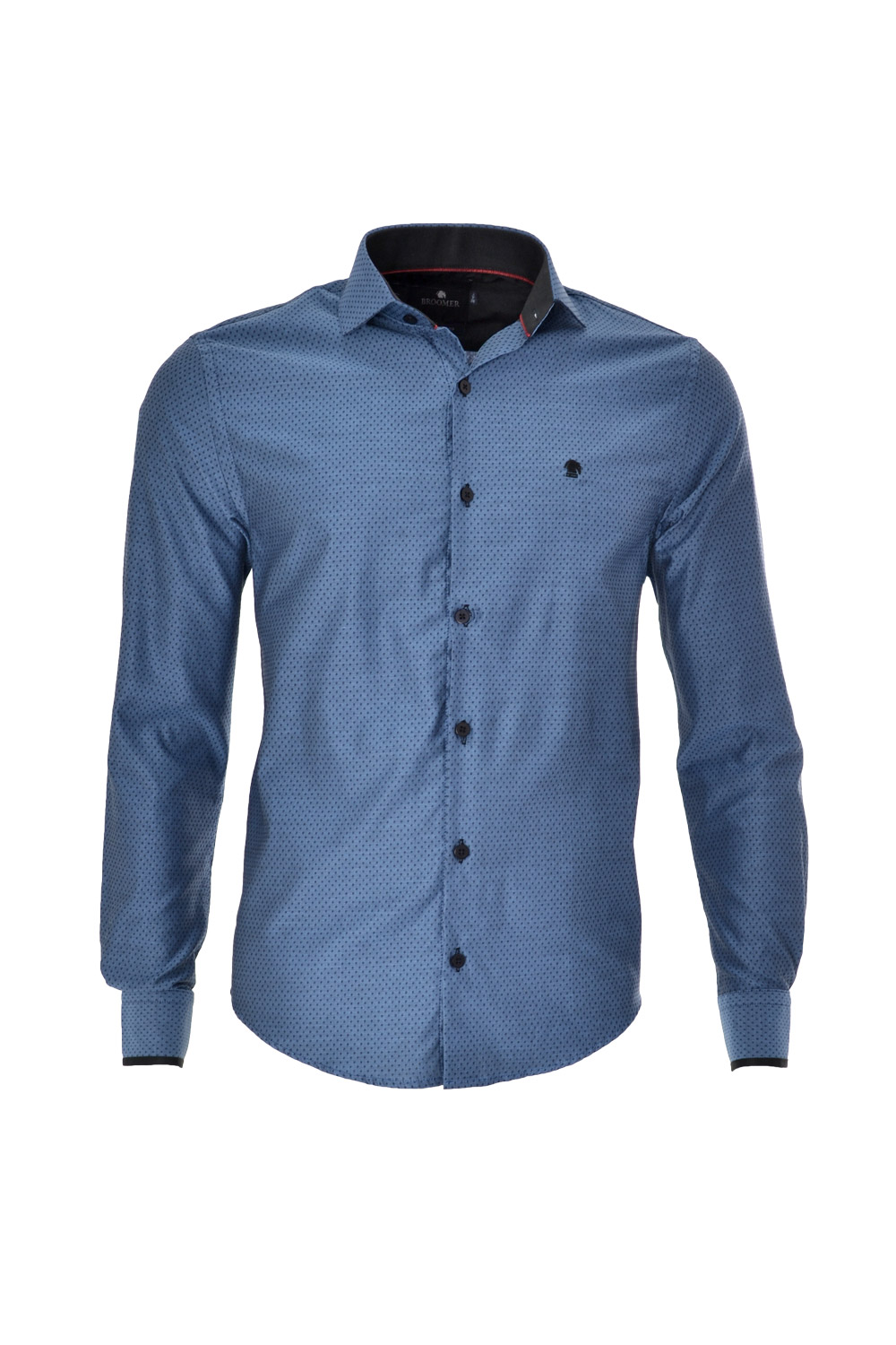 CAMISA ML FASHION SUPER SLIM ALGODAO FIO TINTO MAQUINETADA AZUL MEDIO
