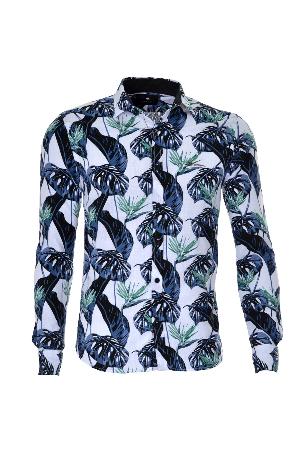 CAMISA ML BLUES SUPER SLIM ALGODAO TRENDY ESTAMPA VERDE CLARO