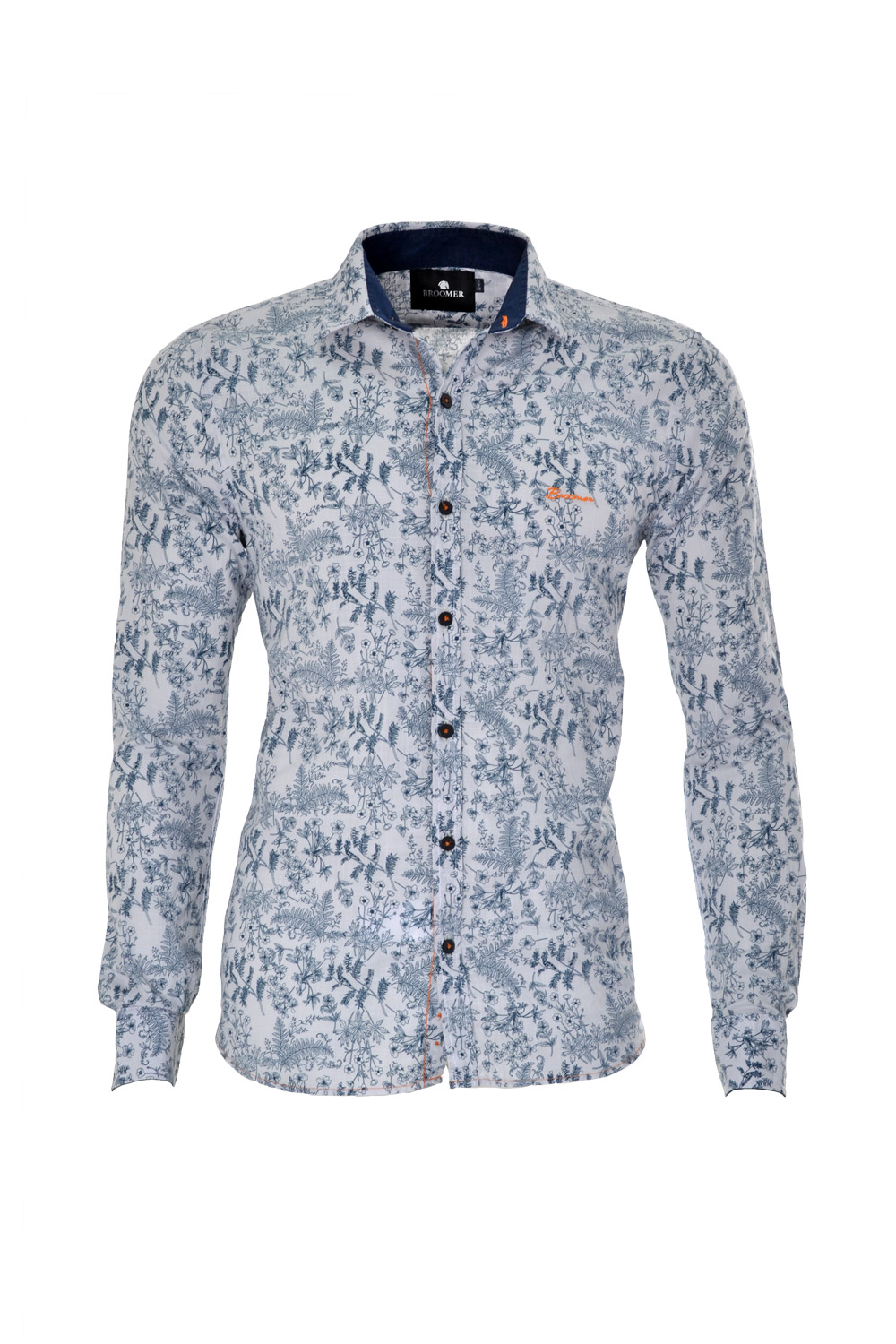 CAMISA ML BLUES SUPER SLIM ALGODAO TRENDY ESTAMPA AZUL MARINHO