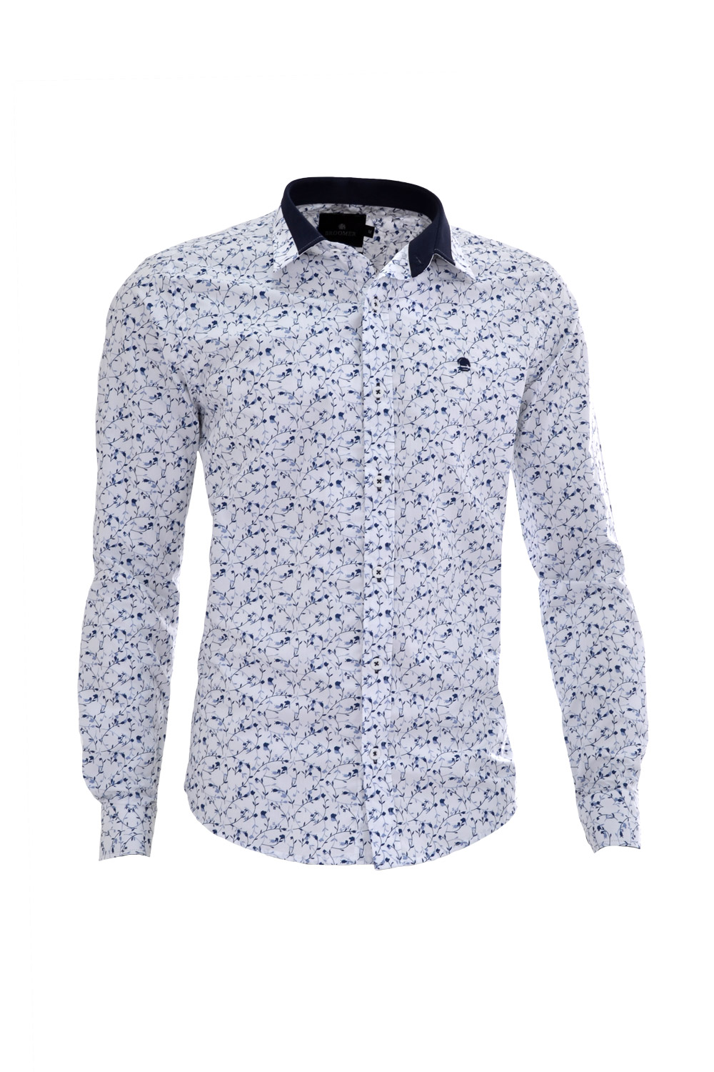CAMISA ML FASHION SUPER SLIM ALGODAO COMPOSE FLORAL BRANCO