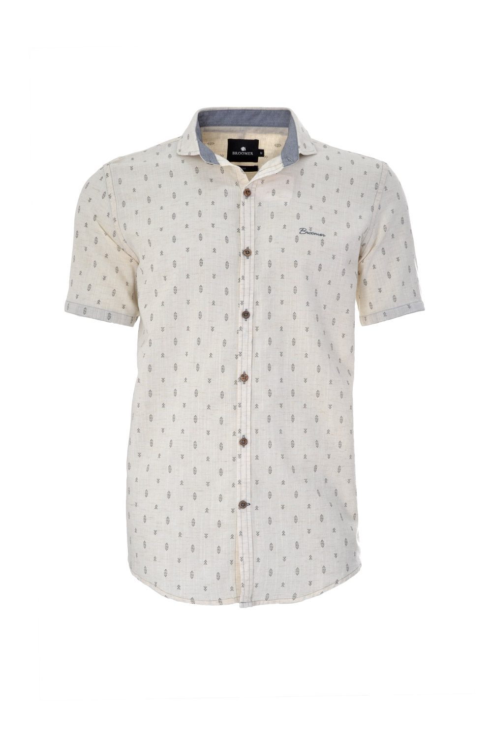 CAMISA MC BLUES SLIM ALGODAO MODAL LINHO TRENDY ESTAMPA BEGE CLARO