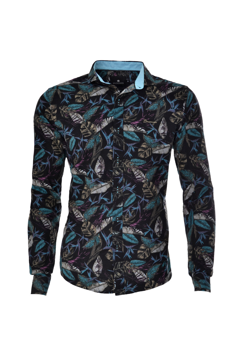 CAMISA ML BLUES SUPER SLIM ALGODAO FIO TINTO FLORAL PRETO