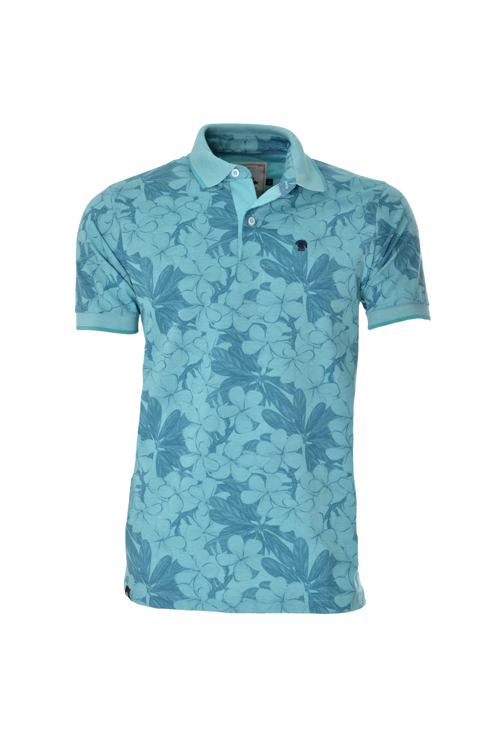 POLO MC CASUAL SUPER SLIM POLIALGODAO FIO TINTO ESTAMPA AZUL CLARO